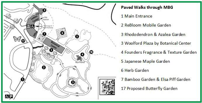 Map of the Paved Trails around the MBG