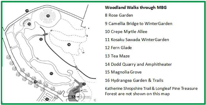 Map for Woodland Walks in MBG
